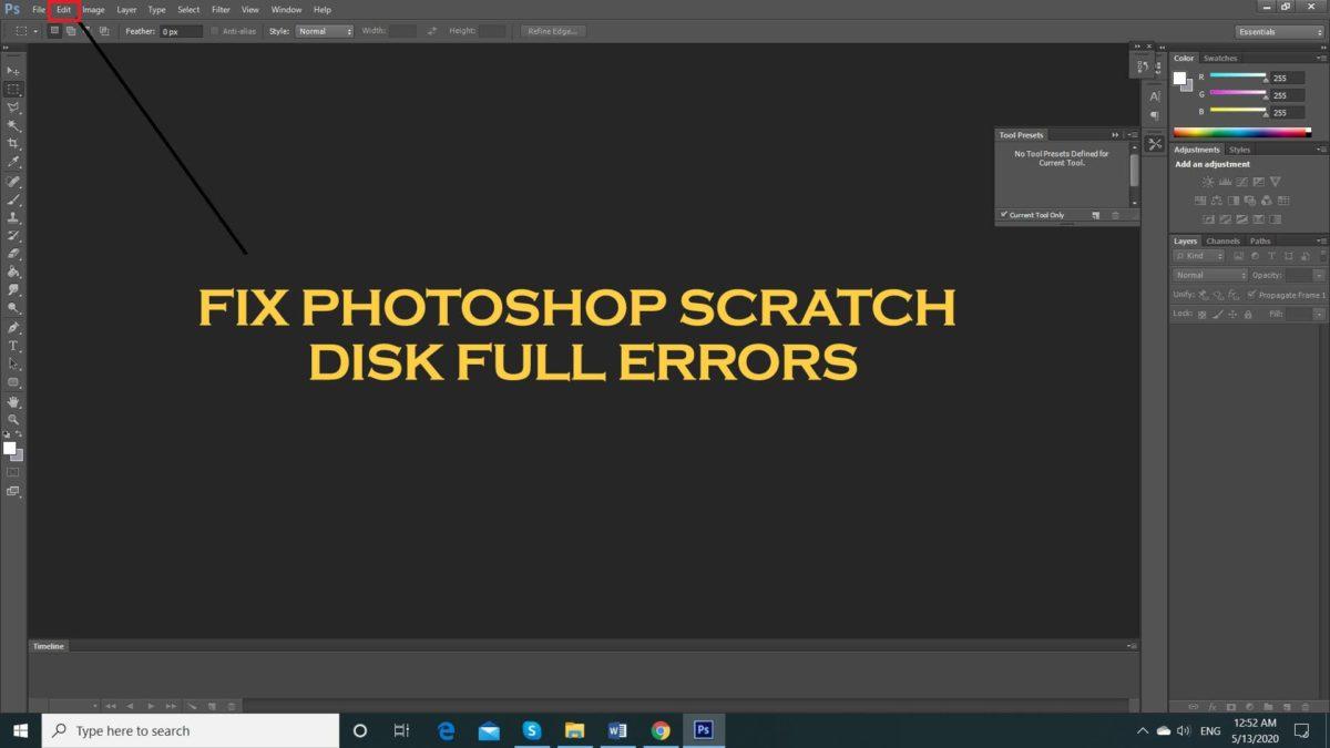 Fix Photoshop Scratch Disk Full Errors