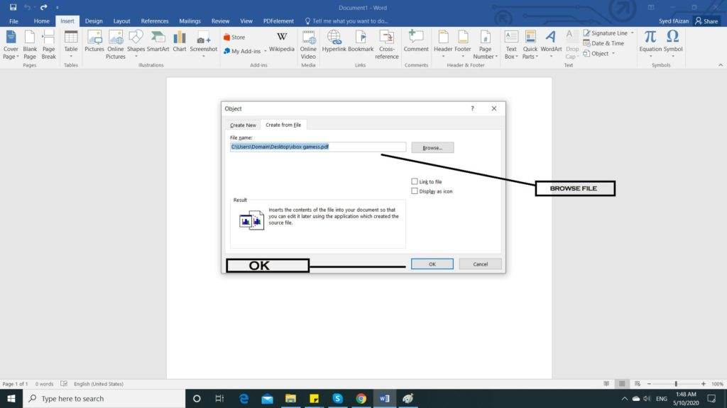 insert a pdf into word