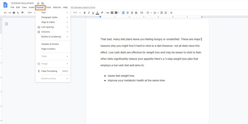 how to add ruler in google docs