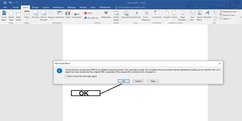 MICROSOFT OFFICE-PDF TO WORD DOC-click okay