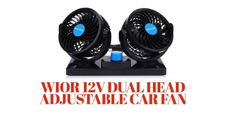 WIOR 12V Dual Head Adjustable Car Fan-plug in car heater